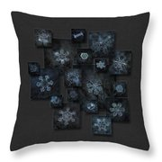 Snowflake Collage - Dark Crystals 2012-2014 Throw Pillow by Alexey Kljatov
