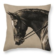 Dark Dressage Horse Aged Photo Fx Throw Pillow