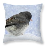 Dark Eyed Junco - Digital Snowflakes Throw Pillow
