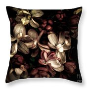 Dark Flowers Throw Pillow