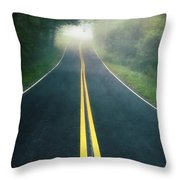 Dark Foggy Country Road Throw Pillow