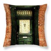Dark Green Doorway Photograph Print Throw Pillow