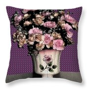 Dark Ink Vase And Flowers Throw Pillow