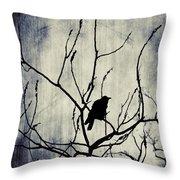 Crow In Dark Lights Throw Pillow