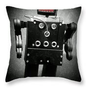 Dark Metal Robot Oil Throw Pillow