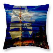 Dark Moonlight With Sails And Seagull Throw Pillow