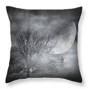 Dark Night Sky Paradox Throw Pillow by Taylan Apukovska