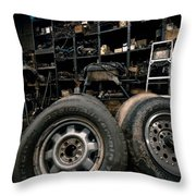 Dark Old Garage Throw Pillow