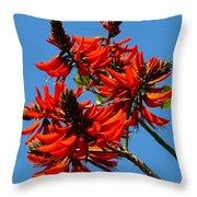 Dark Orange Coral Blossom Throw Pillow