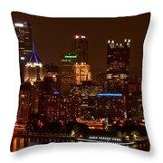 Dark Pittsburgh Skyline Throw Pillow