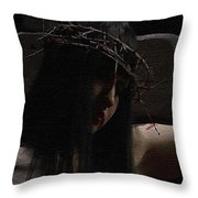 Dark Portrait Of A Female Jesus Throw Pillow