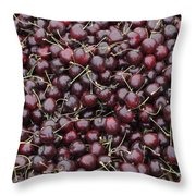 Dark Red Cherries For Sale Throw Pillow