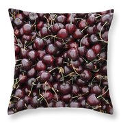 Dark Red Cherries In A Market Display Throw Pillow