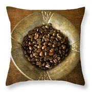 Dark Roast Coffee Beans And Antique Silver Throw Pillow
