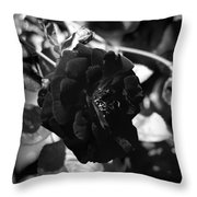 Dark Rose In Black And White Throw Pillow