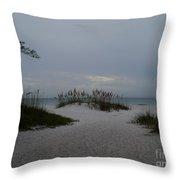 Dark Skies Over The Beach Throw Pillow