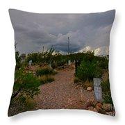 Dark Sky Over Tombstone Throw Pillow