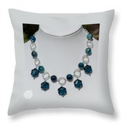Dark Turquoise Crystal And Faceted Agate Necklace 3676 Throw Pillow
