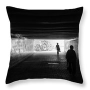 Dark Underpass Throw Pillow