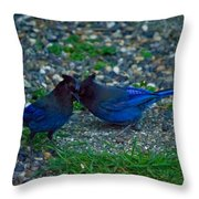 Darling I Have To Tell You A Secret-sweet Stellar Jay Couple Throw Pillow