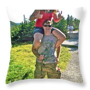 Couple From Saskatchewan On Skyline Trail In Cape Breton Highlands National Park-nova Scotia-canada  Throw Pillow