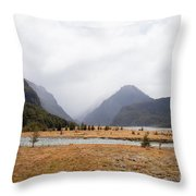 Dart River Valley Rain Clouds Mt Aspiring Np Nz Throw Pillow