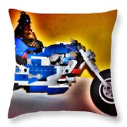 Darth Vader Rides A Harley  Hdr Throw Pillow