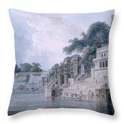 Dasasvamedha Ghat, Benares, Uttar Throw Pillow