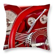 Dashboard Red Classic Car Throw Pillow