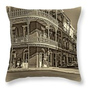 Dashing In Red - Sepia Throw Pillow