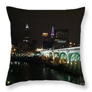 Date Night In Cleveland - From His Window Throw Pillow by LCS Art