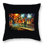 Date On The Bridge - Palette Knife Oil Painting On Canvas By Leonid Afremov Throw Pillow