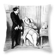 Daumier: Doctor Cartoon Throw Pillow