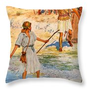 David and Goliath Throw Pillow by William Henry Margetson