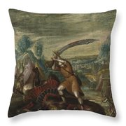 David Beheading Goliath Throw Pillow
