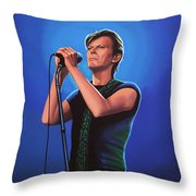 David Bowie 2 Painting Throw Pillow