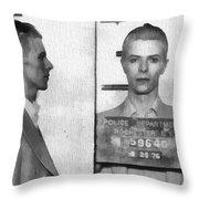 David Bowie Mug Shot Throw Pillow