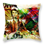 David Bowie Original Painting Print Throw Pillow