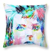 David Bowie - Watercolor Portrait.6 Throw Pillow
