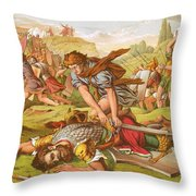 David Slaying The Giant Goliath Throw Pillow by English School