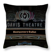 David Theatre Neon - Montgomery Alabama Throw Pillow