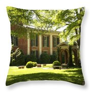 Davidson College Old Well And Philanthropic Hall Throw Pillow