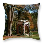 Davidson College Old Well In Autumn Throw Pillow