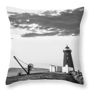 Davit And Lighthouse On A Breakwater Throw Pillow