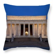 Dawn At Lincoln Memorial Throw Pillow