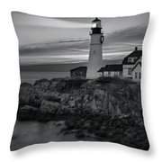 Dawn At Portland Head Light Bw Throw Pillow by Susan Candelario