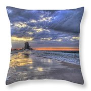 Dawn At The Cottages Of Romar Throw Pillow