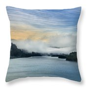 Dawn Fog On Klamath River Throw Pillow