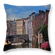 Dawn In Bruges Throw Pillow