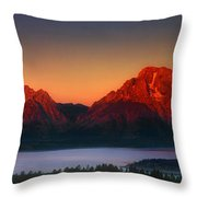 Dawn Light On The Tetons Grant Tetons National Park Wyoming Throw Pillow